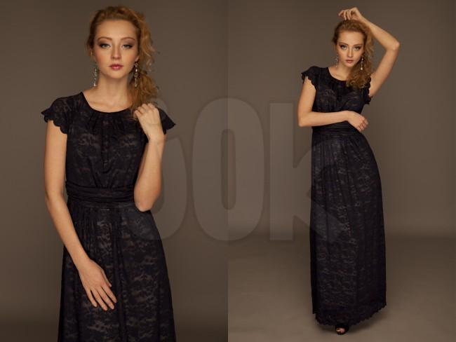 Платье 115 сапфировый / кружево. Размер: 42, 44, 46, 48, 50